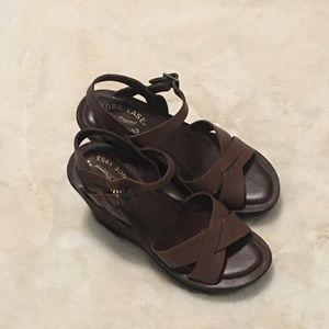 Kork-Ease dark brown leather wedge sandals